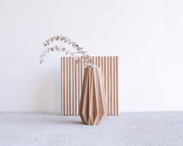 Vase Origami Natural wood