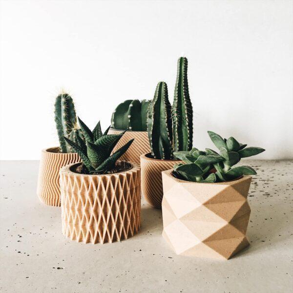 set of 4 indoor wood planters