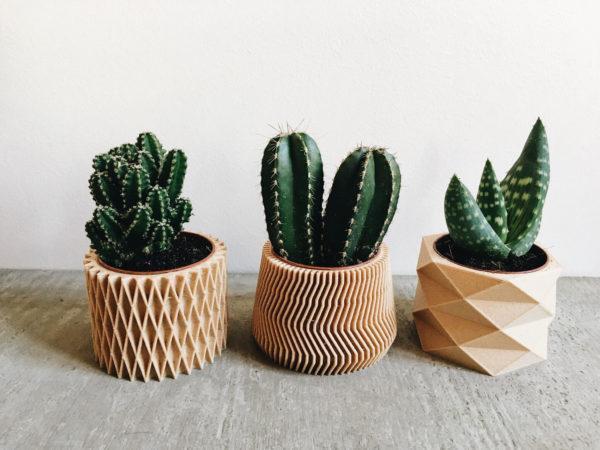 Set of 3 planters - Diamant Savane Croix