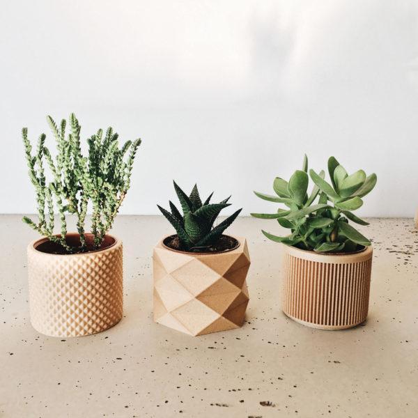Set of 3 planters - Piko Diamant Japan