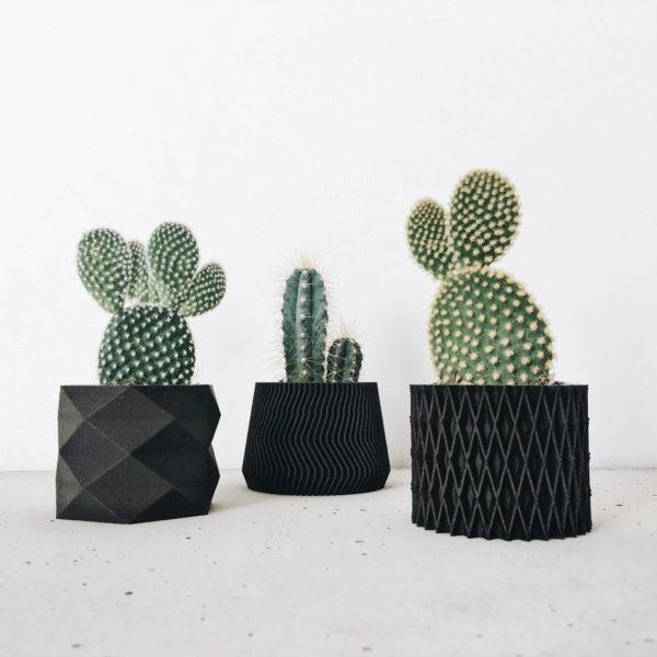 Black indoor planter