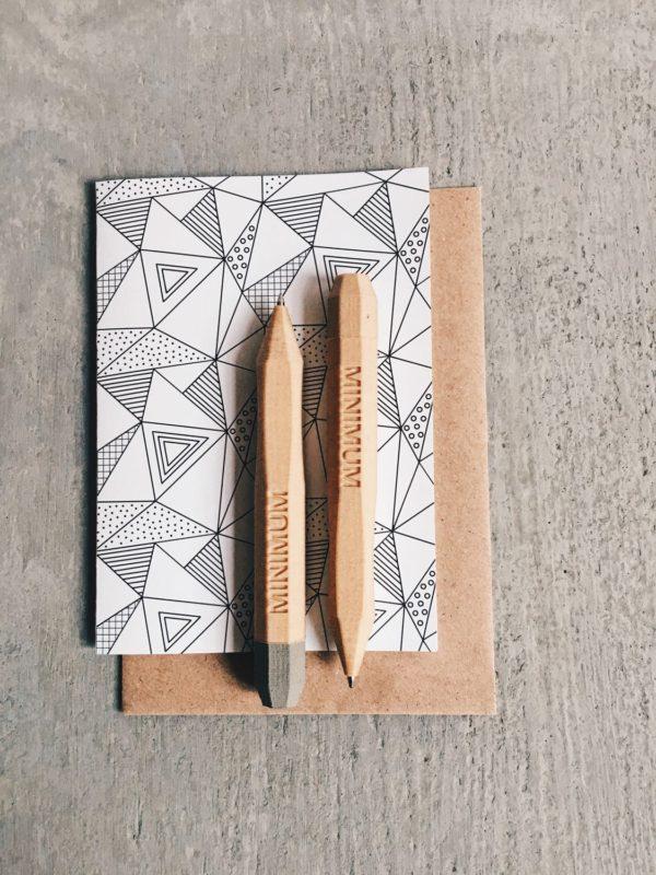Stylos / crayon design minimaliste imprimé en Bois recyclé / WOODENPEN